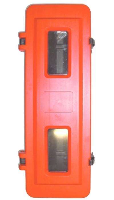 12 kg Feuerlöscherschutzschrank Kunststoff Unterteil schwarz Oberteil rot