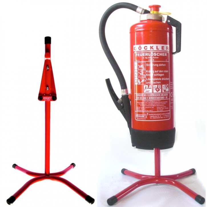 Göckler Feuerlöscher-Ständer Rohrstahl rot lackiert