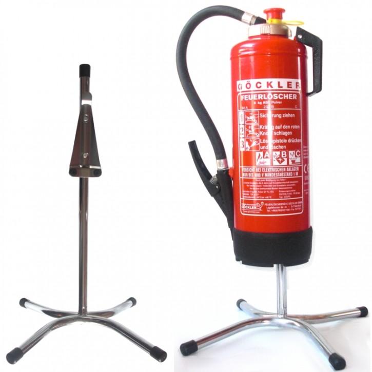 Göckler Feuerlöscher-Ständer Rohrstahl verchromt
