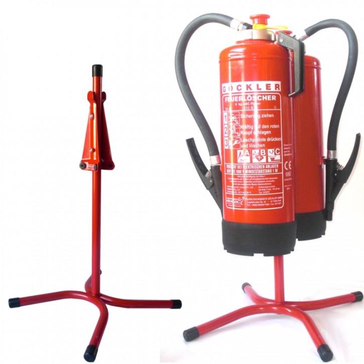 Göckler Feuerlöscher-Ständer Rohrstahl rot lackiert für 2 geräte