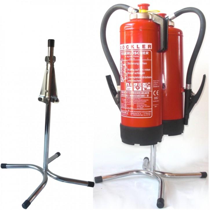 Göckler Feuerlöscher-Ständer Rohrstahl verchromt für 2 geräte