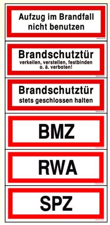 Hier klicken zur Auswahl von Göckler RWA / BMZ / SPZ / Aufzug / Brandschutztür....-Schilder DIN 4066 in verschiedenen Materialien
