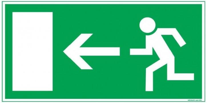 Göckler Pfeil nach links-Flucht-Rettungswegzeichen-Symbol-Schild BGV A8 F10
