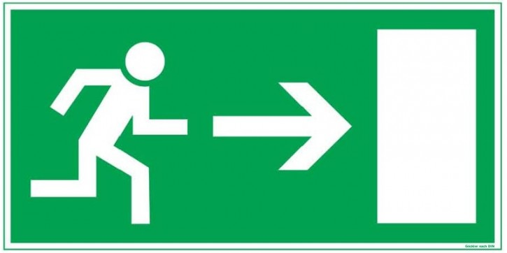 Göckler Pfeil nach rechts-Flucht-Rettungswegzeichen-Symbol-Schild BGV A8 F20