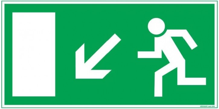 Göckler Pfeil nach links-abwärts-Flucht-Rettungswegzeichen-Symbol-Schild BGV A8 F40