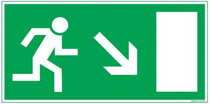 Göckler Pfeil nach rechts-abwärts-Flucht-Rettungswegzeichen-Symbol-Schild BGV A8 F60