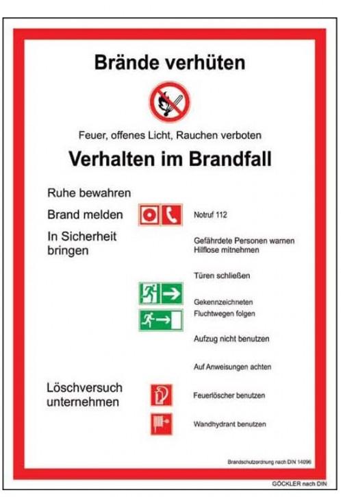 Göckler Brandschutzordnung Brände verhüten -Schild DIN 14096 Gr.:  210 x 297 mm  Kunststoffplatte rot/schwarz/grün