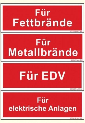 Hier klicken zur Auswahl von Göckler Zusatzschilder für Feuerlöscher Symbol Schild F05 150 u. 200 mm in verschiedenen Materialien
