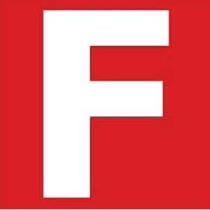 Zusatzschild F -Feuerwehr+Selbsthilfe- zum Aufkleben  Gr.:  40 x 40 mm