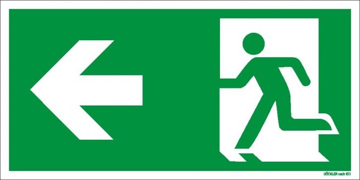 Göckler Pfeil nach links-Flucht-Rettungswegzeichen-Symbol-Schild ISO 7010