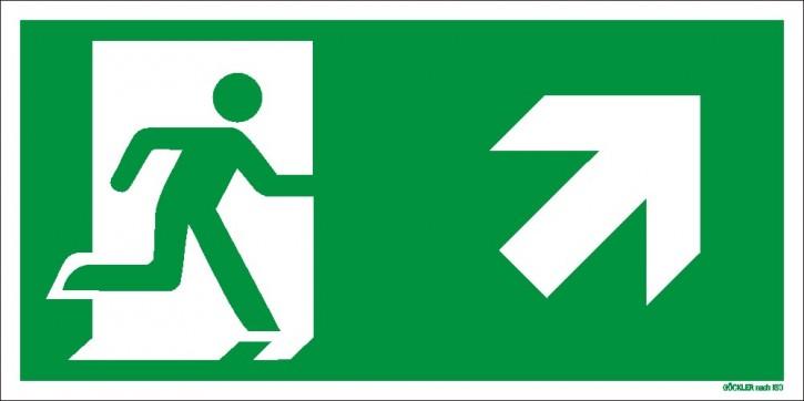 Göckler Pfeil nach rechts-aufwärts-Flucht-Rettungswegzeichen-Symbol-Schild ISO 7010
