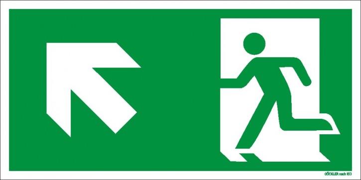 Göckler Pfeil nach links-aufwärts-Flucht-Rettungswegzeichen-Symbol-Schild  ISO 7010