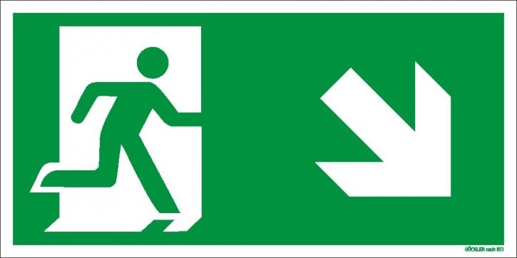 Göckler Pfeil nach rechts-abwärts-Flucht-Rettungswegzeichen-Symbol-Schild ISO 7010