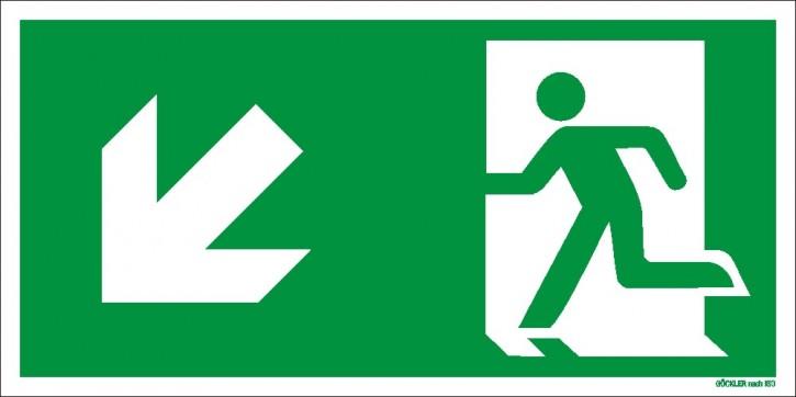 Göckler Pfeil nach links-abwärts-Flucht-Rettungswegzeichen-Symbol-Schild ISO 7010
