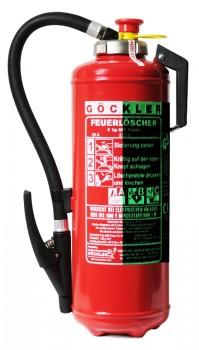 NEU  6 kg Göckler ABC- Pulver- Auflade- Feuerlöscher DIN EN 3 , GS , Rating: 55 A, 233 B, C = 15 LE , Mit nachleuchtender Beschriftung.
