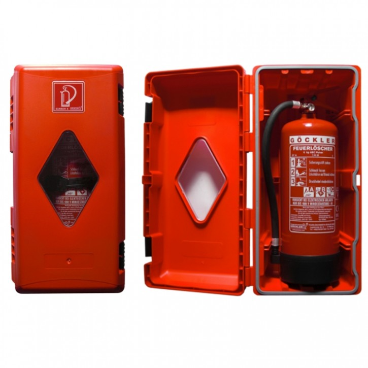 6 kg Göckler Gimbox Feuerlöscherschutzschrank Kunststoff rot