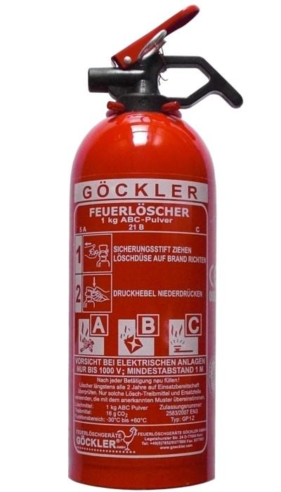 1 kg Göckler ABC-Pulver-Auflade-Feuerlöscher EN 3