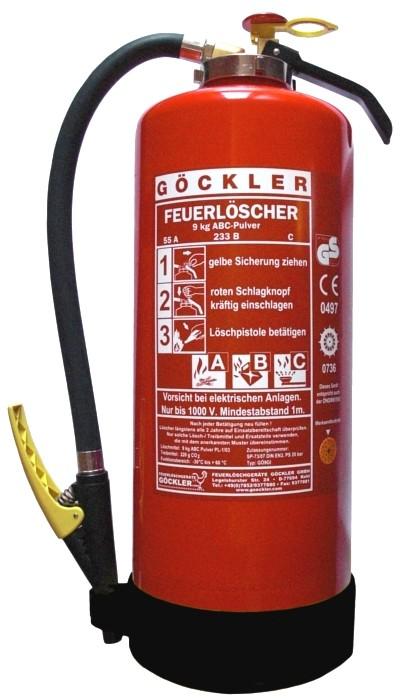 9 kg Göckler ABC-Pulver-Auflade-Feuerlöscher DIN EN 3 GS