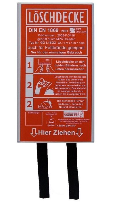 GÖCKLER Löschdecke 1 x 1 Meter, DIN EN 1869:2001
