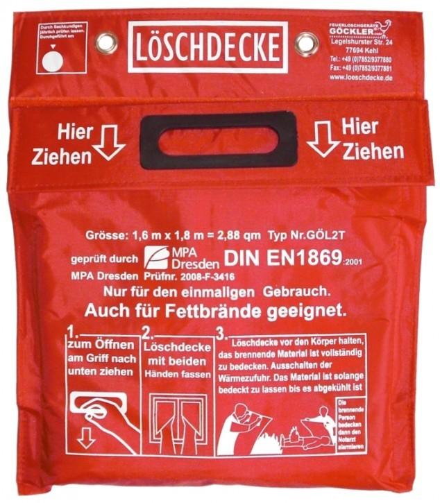 GÖCKLER Löschdecke 1,6 x 1,8 Meter, DIN EN 1869:2001