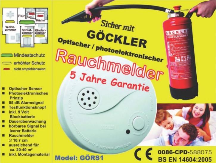 Göckler Rauchmelder BS EN 14604:2005 geprüft inkl. 9 Volt Blockbatterie