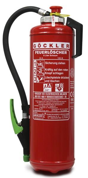 6 L Göckler-Schaum-Kartuschen-Auflade-Feuerlöscher DIN EN 3