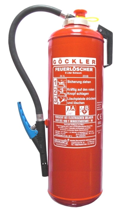 9 L Göckler-Schaum-Kartuschen-Auflade- Feuerlöscher DIN EN 3