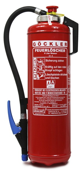 6 L Göckler Wasser-Auflade-Feuerlöscher DIN EN 3