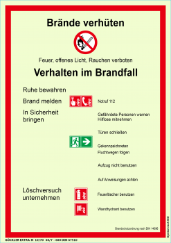 Göckler Brandschutzordnung Brände verhüten -Schild DIN 14096 Gr.:  210 x 297 mm  Kunststoffplatte langnachleuchtend selbstklebende rot/schwarz/grün