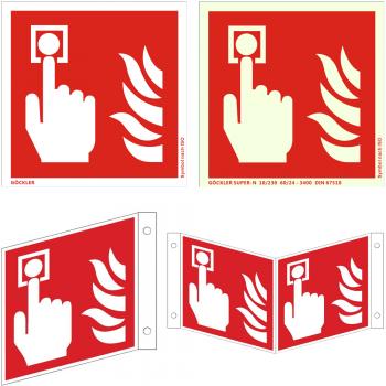 Hier klicken zur Auswahl von Göckler Brandmelder (manuel)-Schild ISO 7010 F005, von 150-200 mm in verschiedenen Materialien