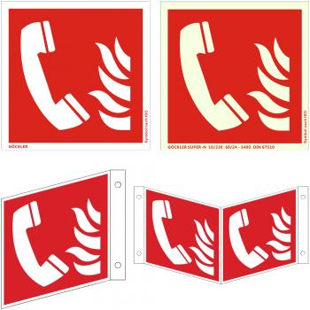 Hier klicken zur Auswahl von Göckler Brandmeldetelefon-Schild ISO 7010 F006, von 150-200 mm in verschiedenen Materialien