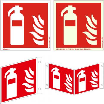 Hier klicken zur Auswahl von Göckler Feuerlöscher-Symbol-Schild ISO 7010 F001 , von 50-300 mm  in verschiedenen Materialien