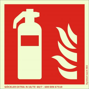Feuerlöscher-Symbol-Schild F001,Gr.: 200 x 200 mm, langnachleuchtende Kunststoffplatte mit selbstklebender Schaumschicht rot, Symbol nach ISO 7010 ,GÖCKLER EXTRA-N 10/70 60/7 - 600 DIN 67510