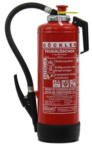 6 kg Göckler ABC-Pulver-Auflade-Feuerlöscher DIN EN 3 GS  ,  Rating: 34 A, 233 B, C = 10 LE