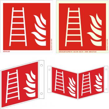 Hier klicken zur Auswahl von Göckler Leiter-Rettungsleiter-Schild ISO 7010 F003, von 150-200 mm  in verschiedenen Materialien