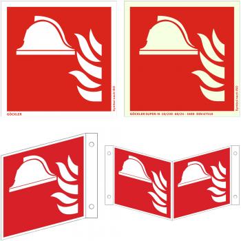 Hier klicken zur Auswahl von Göckler Mittel und Gerät zur Brandbekämpfung-Schild ISO 7010 F004 , von 150-200 mm in verschiedenen Materialien