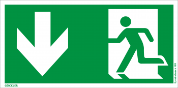 Göckler Rettungsweg Notausgang unten Symbol-Schild, Gr.: 300 x 150 mm, Kunststoffplatte nicht klebend grün, Symbol nach ISO 7010