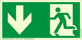 Göckler Pfeil nach unten-Notausgang-Flucht-Rettungswegzeichen-Symbol-Schild ISO 7010