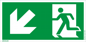 Göckler Rettungsweg links abwärts Symbol-Schild, Gr.: 300 x 150 mm, Kunststoffplatte nicht klebend grün, Symbol nach ISO 7010