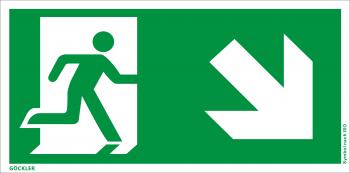Göckler Rettungsweg rechts abwärts Symbol-Schild, Gr.: 300 x 150 mm, Kunststoffplatte nicht klebend grün, Symbol nach ISO 7010
