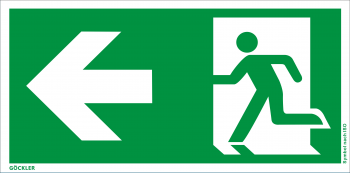 Göckler Rettungsweg links Symbol-Schild, Gr.: 300 x 150 mm, Kunststoffplatte nicht klebend grün, Symbol nach ISO 7010