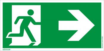 Göckler Rettungsweg rechts Symbol-Schild, Gr.: 300 x 150 mm, Kunststoffplatte nicht klebend grün, Symbol nach ISO 7010