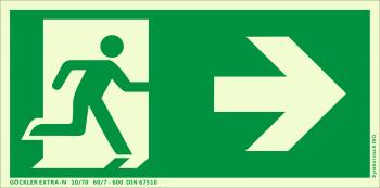Göckler Pfeil nach rechts-Flucht-Rettungswegzeichen-Symbol-Schild  ISO 7010
