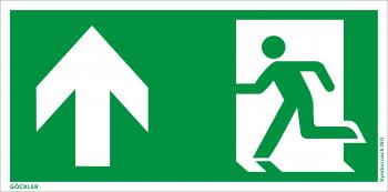 Göckler Rettungsweg Notausgang oben Symbol-Schild, Gr.: 300 x 150 mm, Kunststoffplatte nicht klebend grün, Symbol nach ISO 7010