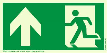 Rettungsweg Notausgang oben Symbol-Schild,Gr.: 300 x 150 mm, langnachleuchtende Kunststoffplatte mit selbstklebender Schaumschicht grün, Symbol nach ISO 7010 ,GÖCKLER EXTRA-N 10/70 60/7 - 600 DIN 67510