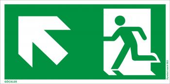 Göckler Rettungsweg links aufwärts Symbol-Schild, Gr.: 300 x 150 mm, Kunststoffplatte nicht klebend grün, Symbol nach ISO 7010