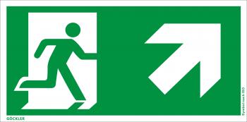 Göckler Rettungsweg rechts aufwärts Symbol-Schild, Gr.: 300 x 150 mm, Kunststoffplatte nicht klebend grün, Symbol nach ISO 7010