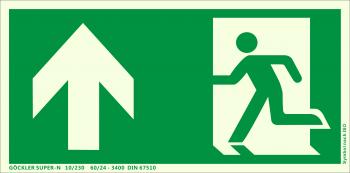 Rettungsweg Notausgang oben Symbol-Schild,Gr.: 300 x 150 mm, langnachleuchtende Kunststoffplatte mit selbstklebender Schaumschicht grün, Symbol nach ISO 7010 ,GÖCKLER SUPER-N 10/230 60/24 - 3400 DIN 67510