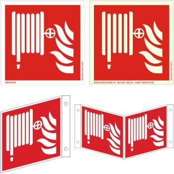 Hier klicken zur Auswahl von Göckler Löschschlauch/ Wandhydranten-Schild ISO F002, von 150-200 mm  in verschiedenen Materialien